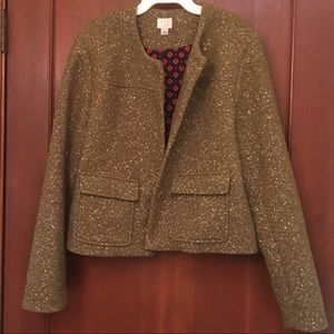 Wool Jacket - Fully Lined Olive and Gold Blazer